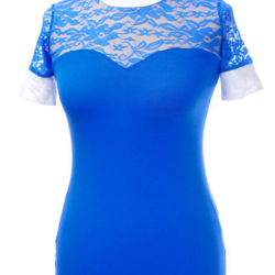 Chemise concours manche courte dentelles bleu roy cavalliera
